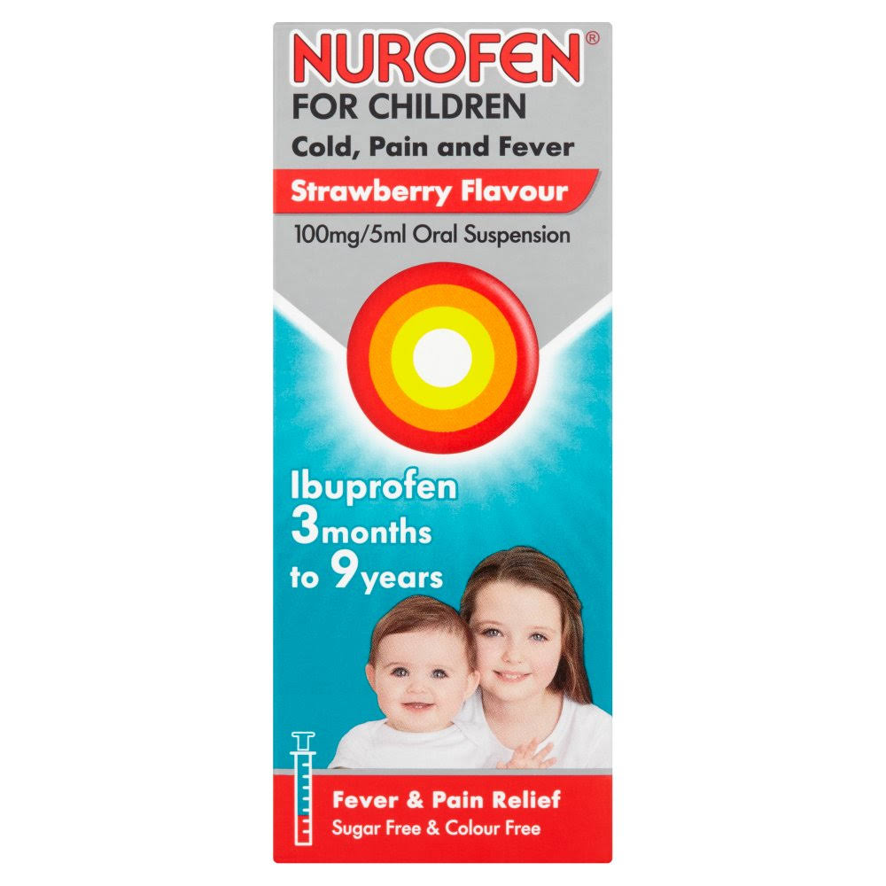 Nurofen for Children, Cold, Pain & Fever Relief Liquid - Strawberry, 100ml
