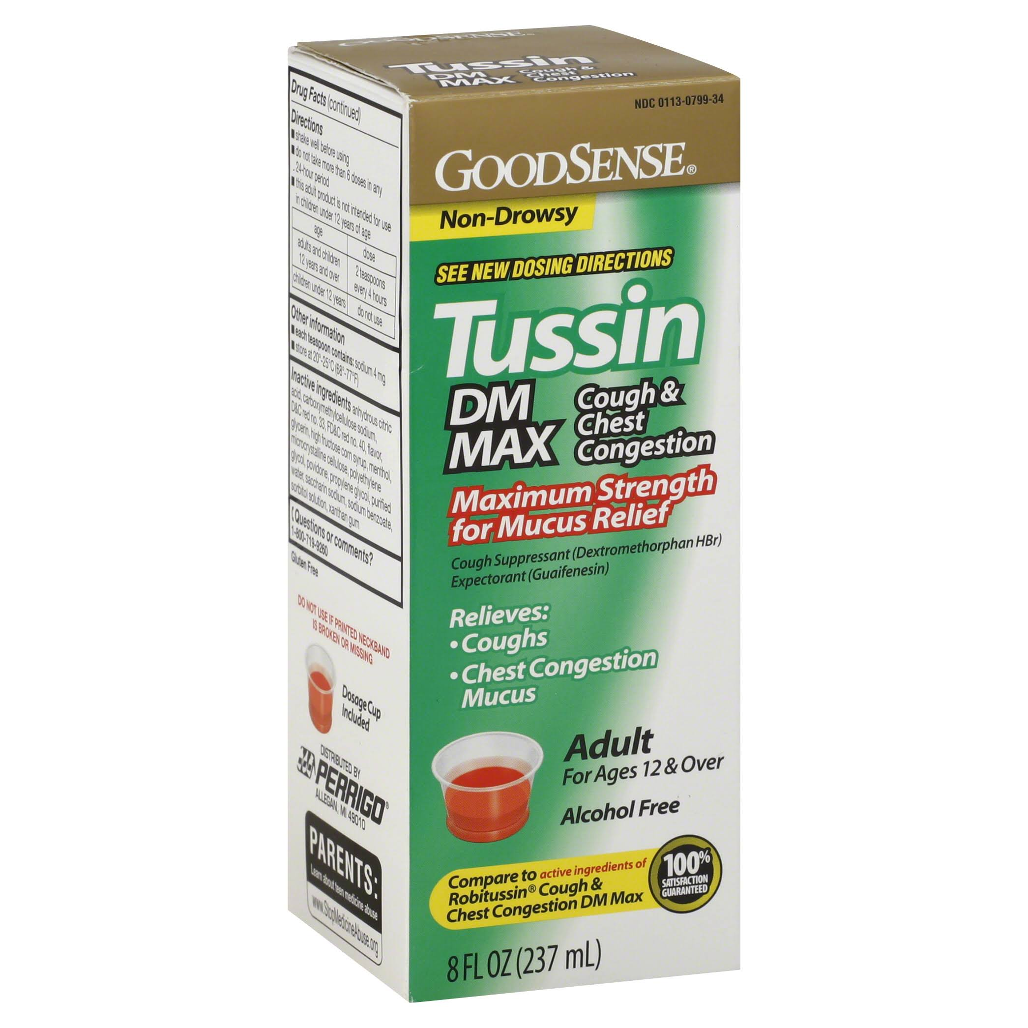 GoodSense Tussin, Adult, Cough & Chest Congestion, DM Max - 8 fl oz