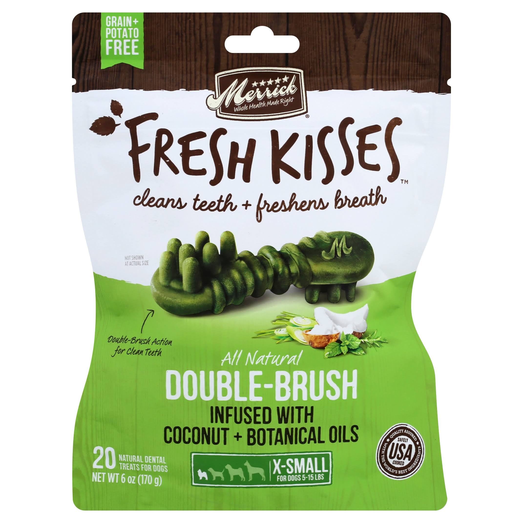 Merrick Fresh Kisses Dental Treats, for Dogs, 5-15 lbs, Coconut + Botanical Oils, Double-Brush, X-Small - 20 treats, 6 oz