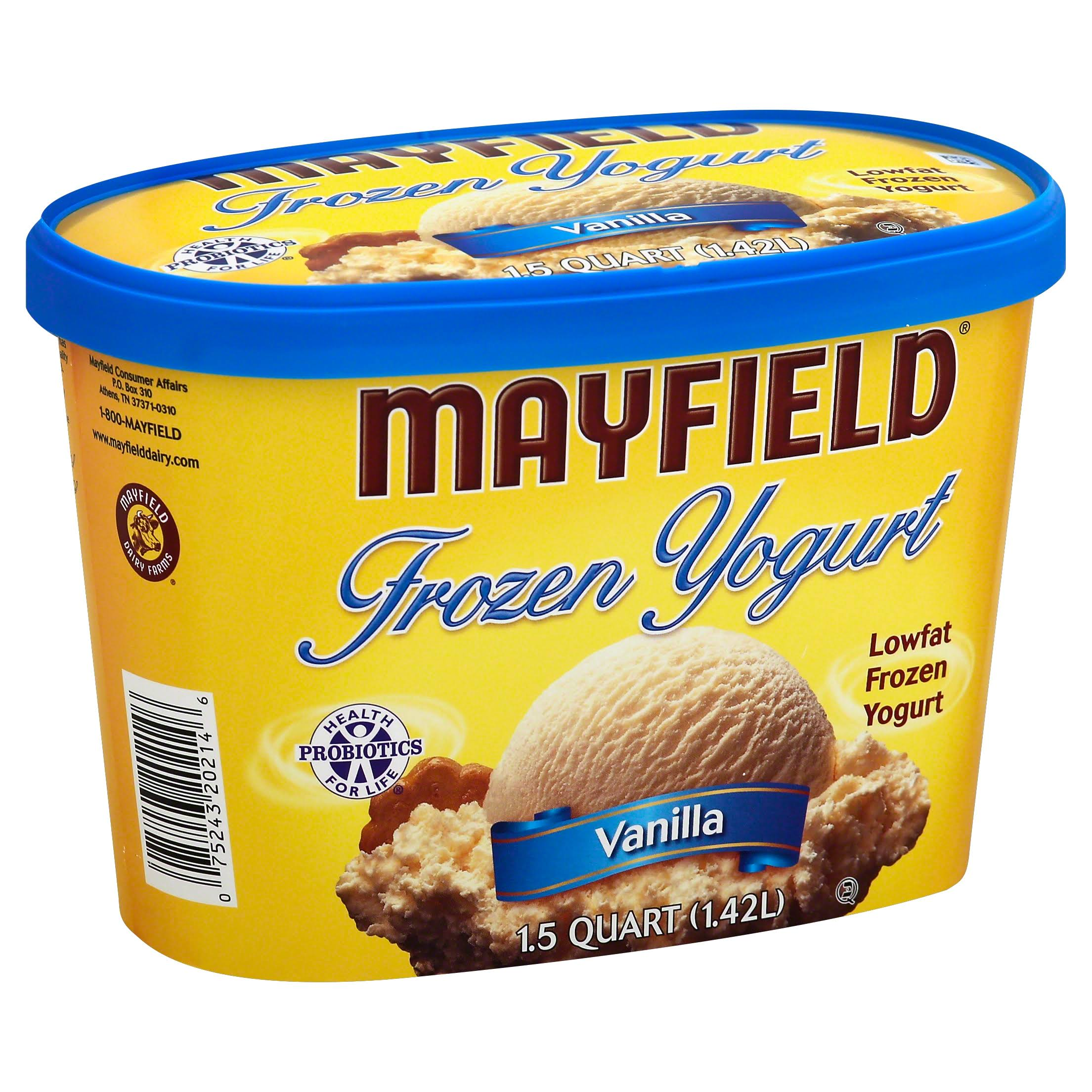 Mayfield Frozen Yogurt, Lowfat, Vanilla - 1.5 qt