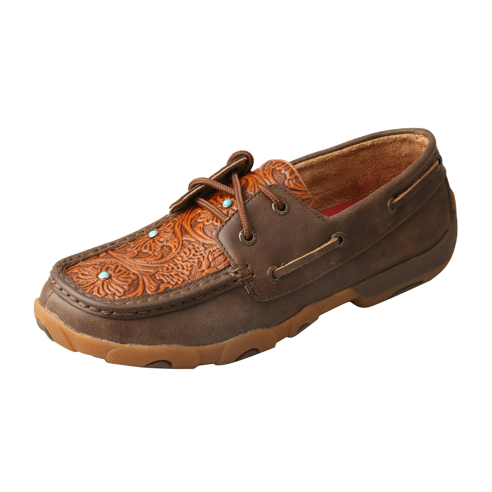Twisted x Women's WDM0092 Driving Moc, Brown/Tooled Flower Leather