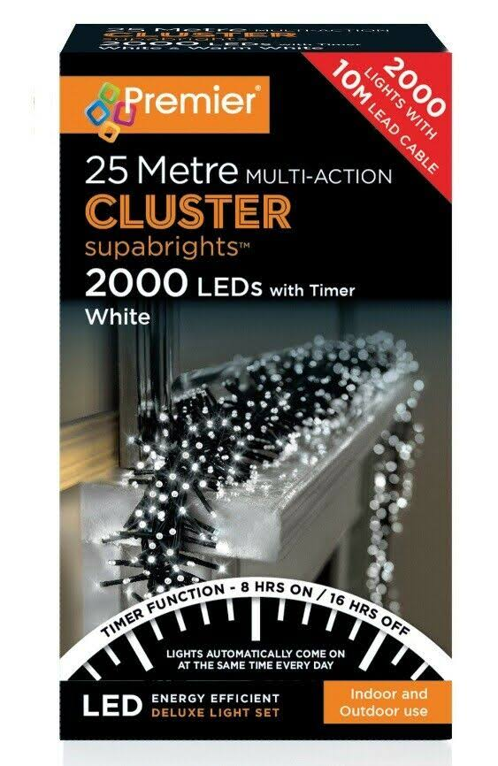 Premier Decorations - 2000 Multi Action Cluster LED Lights with Timer - White