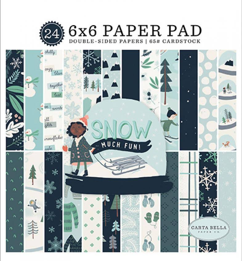 "Carta Bella Paper Snow Much Fun Collection Double-Sided Paper - 6""x6"", 24ct"