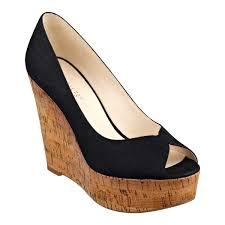 nine west audora peep toe wedges in black lyst