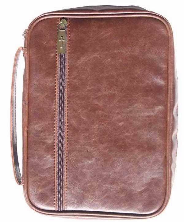 Bible Cover - Distressed Leather Look - Large - Brown