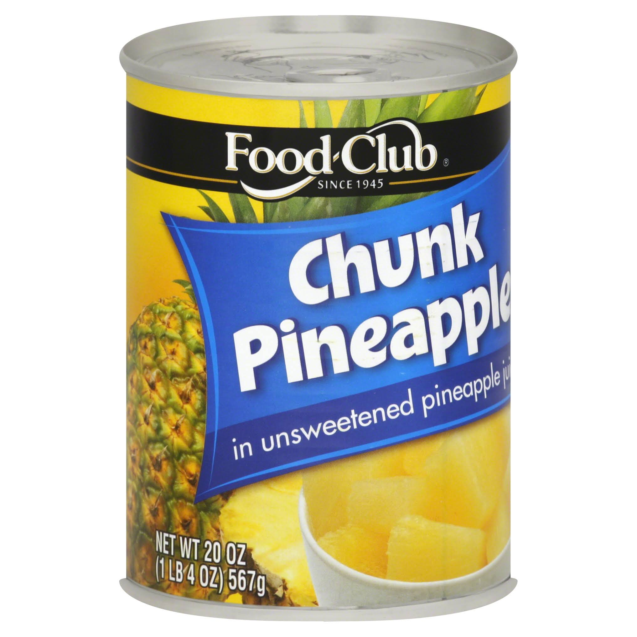 Food Club Pineapple, Chunk, In Unsweetened Pineapple Juice - 20 oz