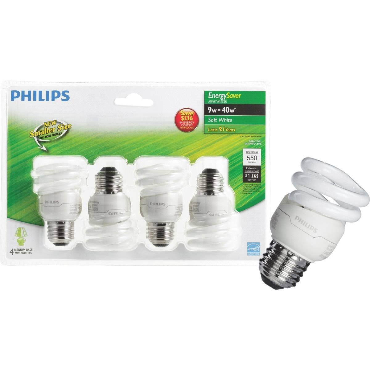 Philips Energy Saver T2 Medium CFL Light Bulb - 9W, 4pk
