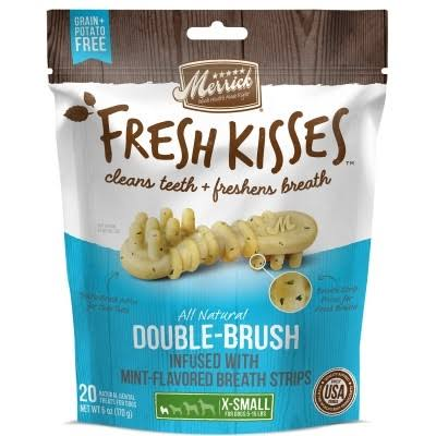 Merrick Fresh Kisses Dental Dog Treats - Mint, XSmall Brush