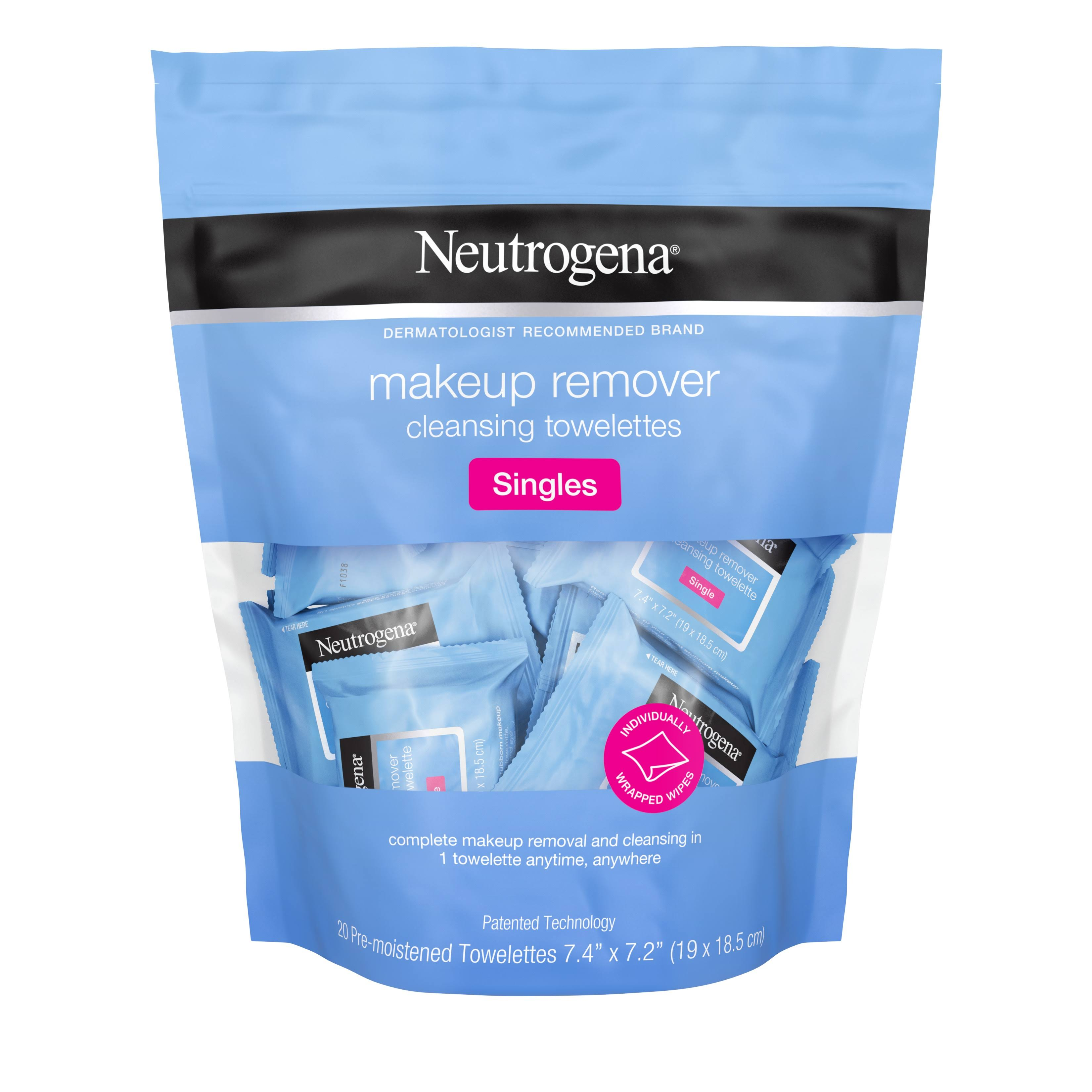 Neutrogena Cleansing Towelettes, Makeup Remover, Singles - 20 towelettes