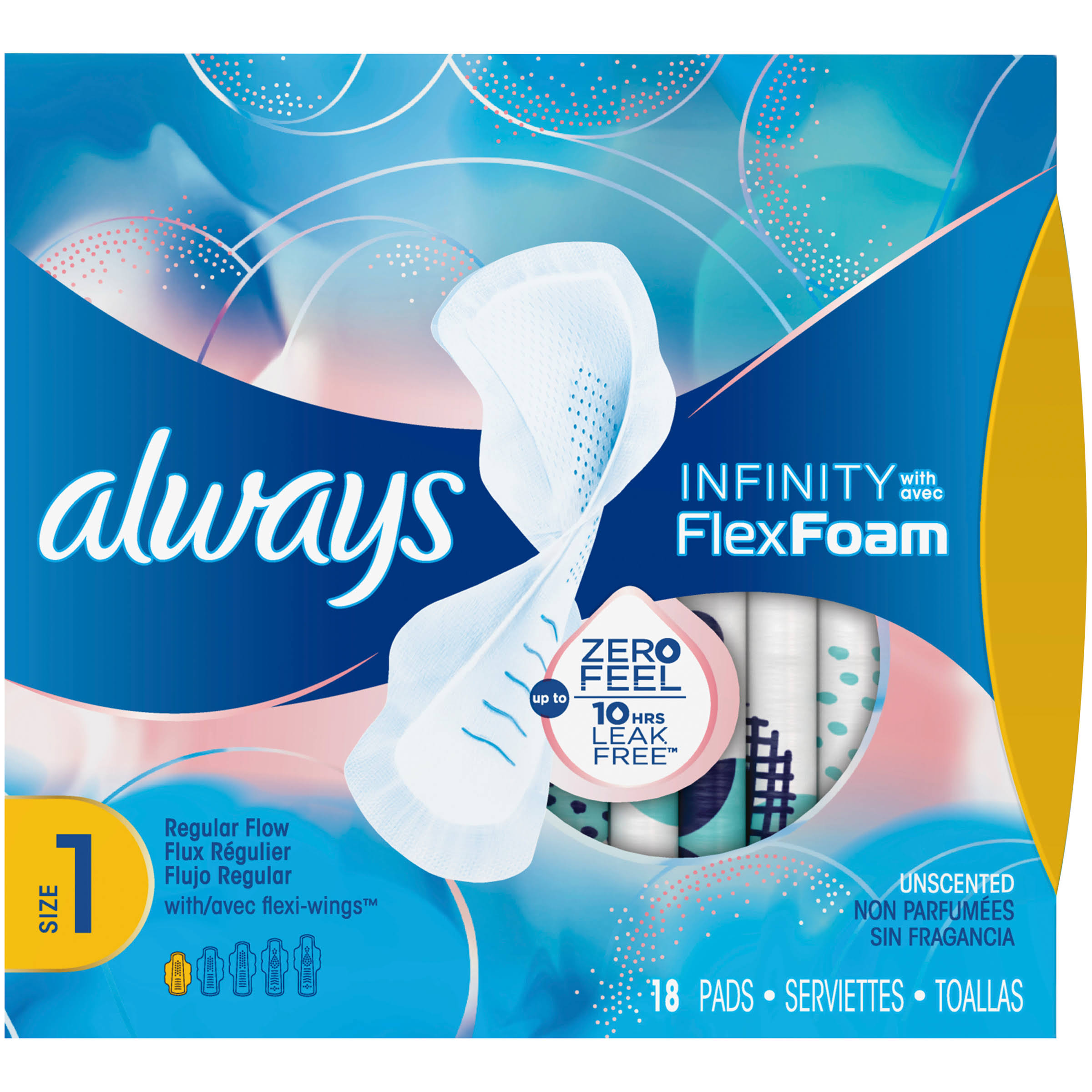 Always Infinity Pads - with Wings, Regular, 18 Pads