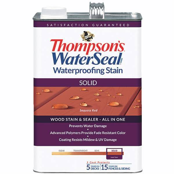 Thompsons Waterseal Solid Waterproofing Wood Stain - Sequoia Red, 1gal