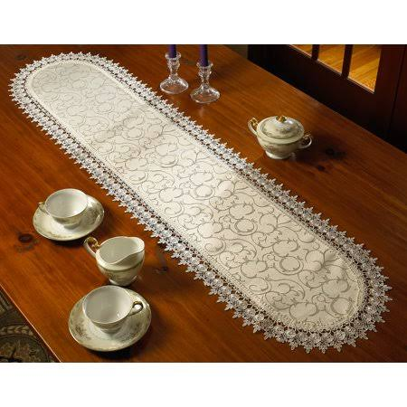 Violet Linen Flower Bow Embroidered Lace Vintage Design Table Runner, Ivory 14x54