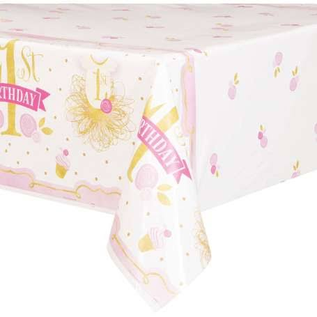 Unique Industries First Birthday TableCover - Pink & Gold, 84in x 54in