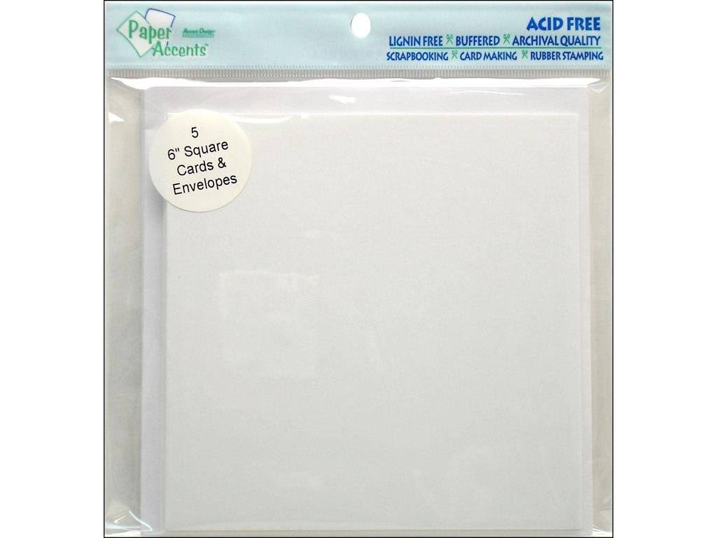 "Paper Accents Blank Card and Envelopes - White, 6"" x 6"", 5pc"