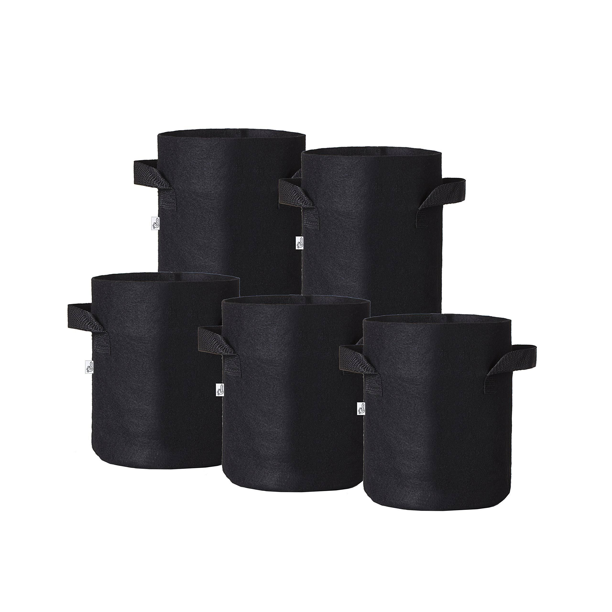 Hydro Crunch 10 in. x 10 in. 3 gal. Breathable Fabric Pot Bags with Handles Black Felt Grow Pot (5-Pack)