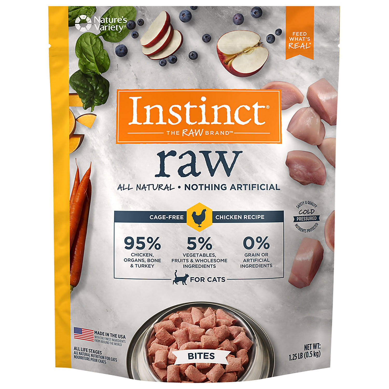 Nature's Variety Instinct Raw Chicken Bites Frozen Cat Food - 1.25 lb bag