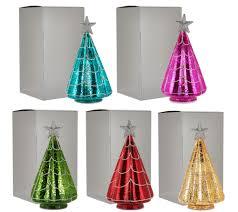 Bethlehem Lights Christmas Trees Qvc by Kringle Express S 5 Illuminated Mercury Glass Trees With Gift