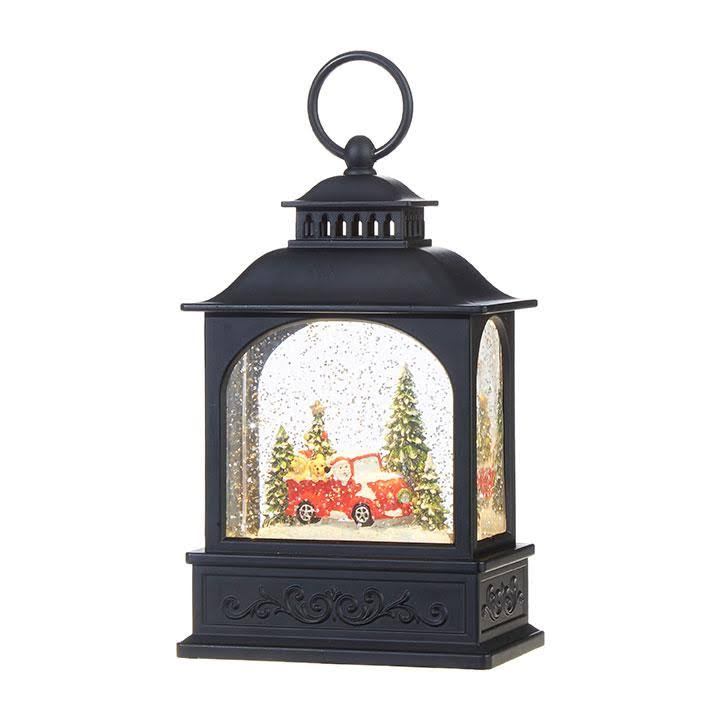 "Raz Imports Christmas Lighted Water Lantern with Santa and Dogs in a Truck - 8"" x 5"""