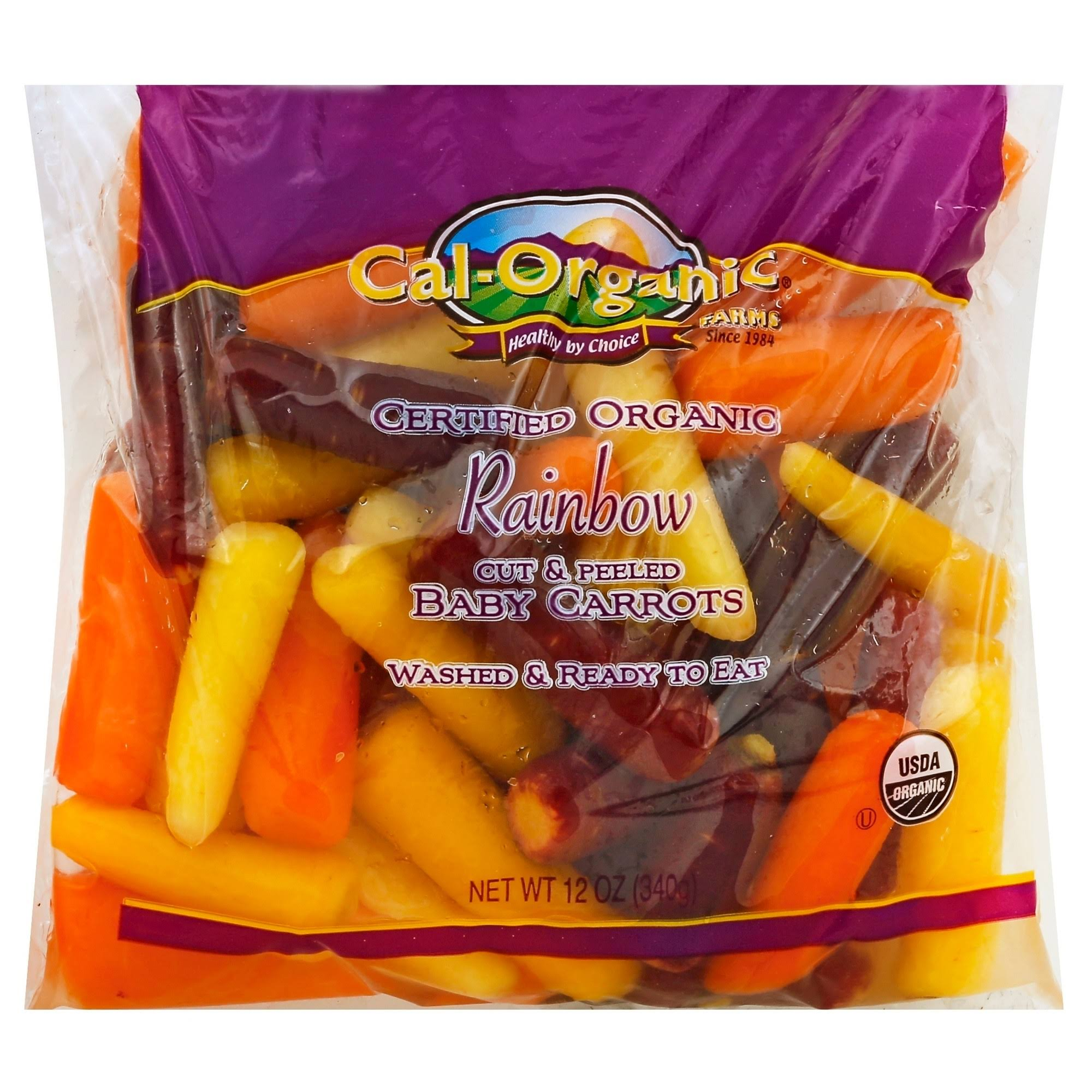 Cal Organic Farms Baby Carrots, Rainbow, Cut & Peeled - 12 oz