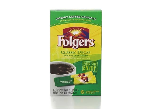 Folgers Classic Decaf Decaffeinated Instant Coffee Crystals - 6 Packets, 12g