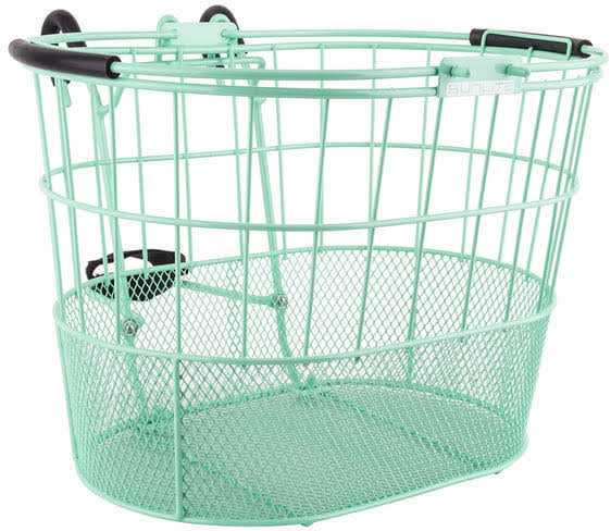 Sunlite Oval Mesh Bottom Lift-Off Bicycle Basket with Bracket - Green