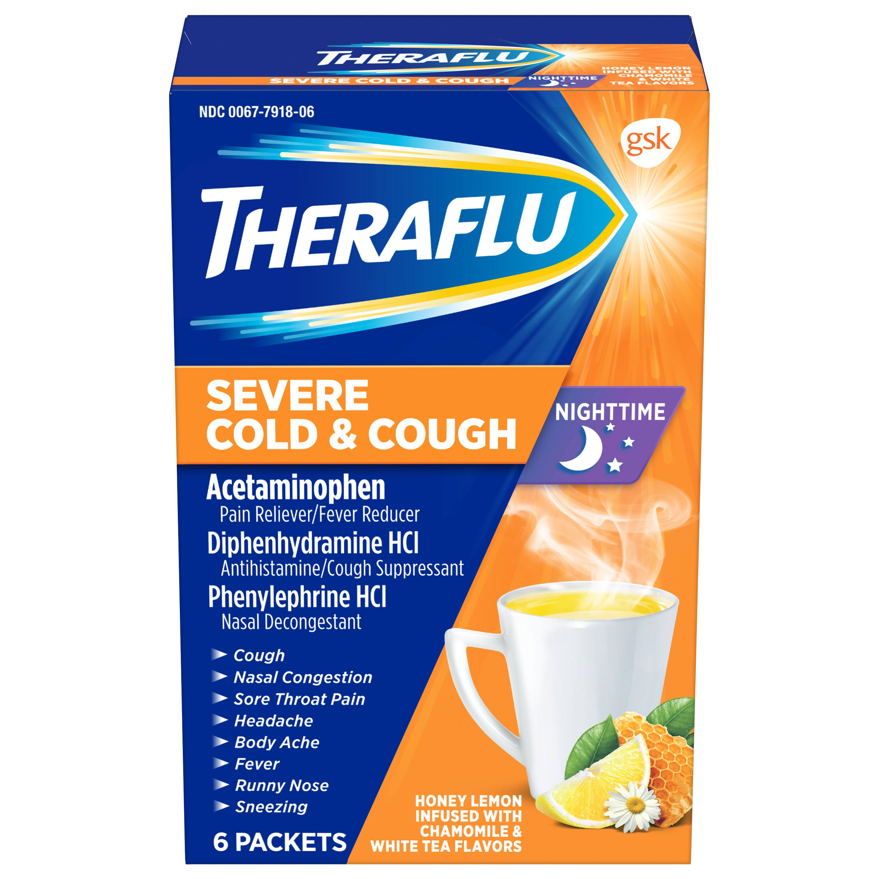 Theraflu Nighttime Honey Lemon Severe Cold and Cough Packets - 6pk
