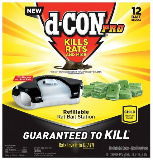 D-Con Pro Refillable Rat Bait Station - 12 Bait Blocks