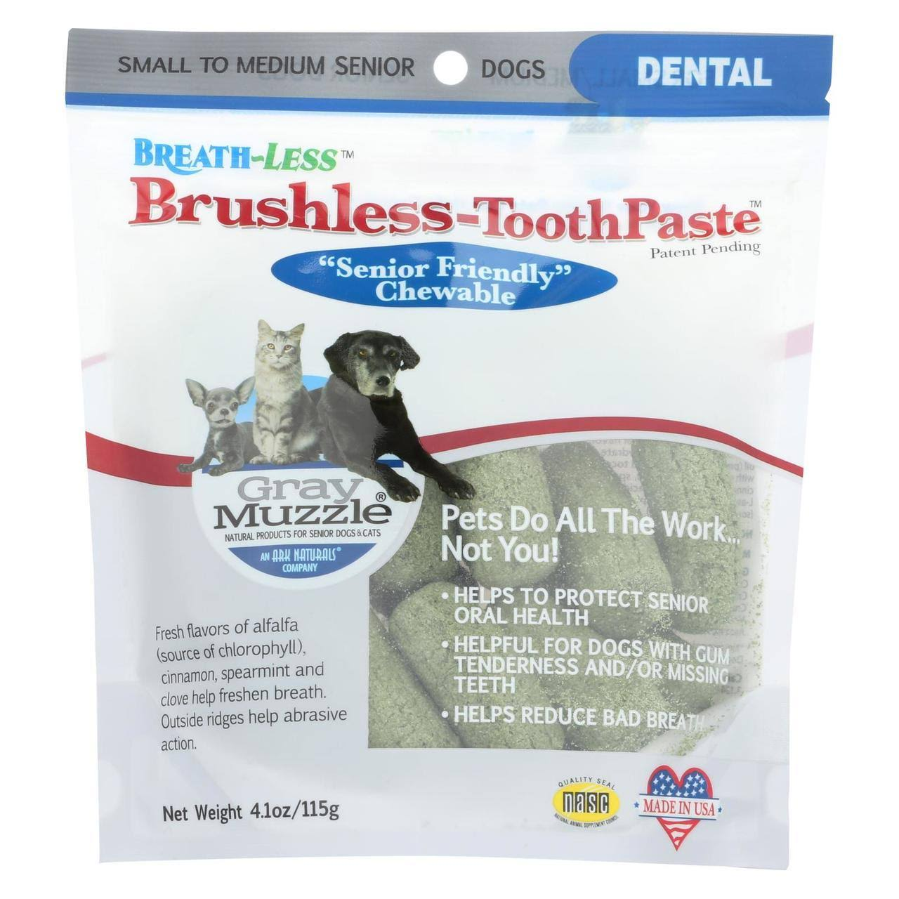 Ark Naturals Brushless Tooth Paste Chewable Dental Treats for Dogs - Gray Muzzle, 4.1oz