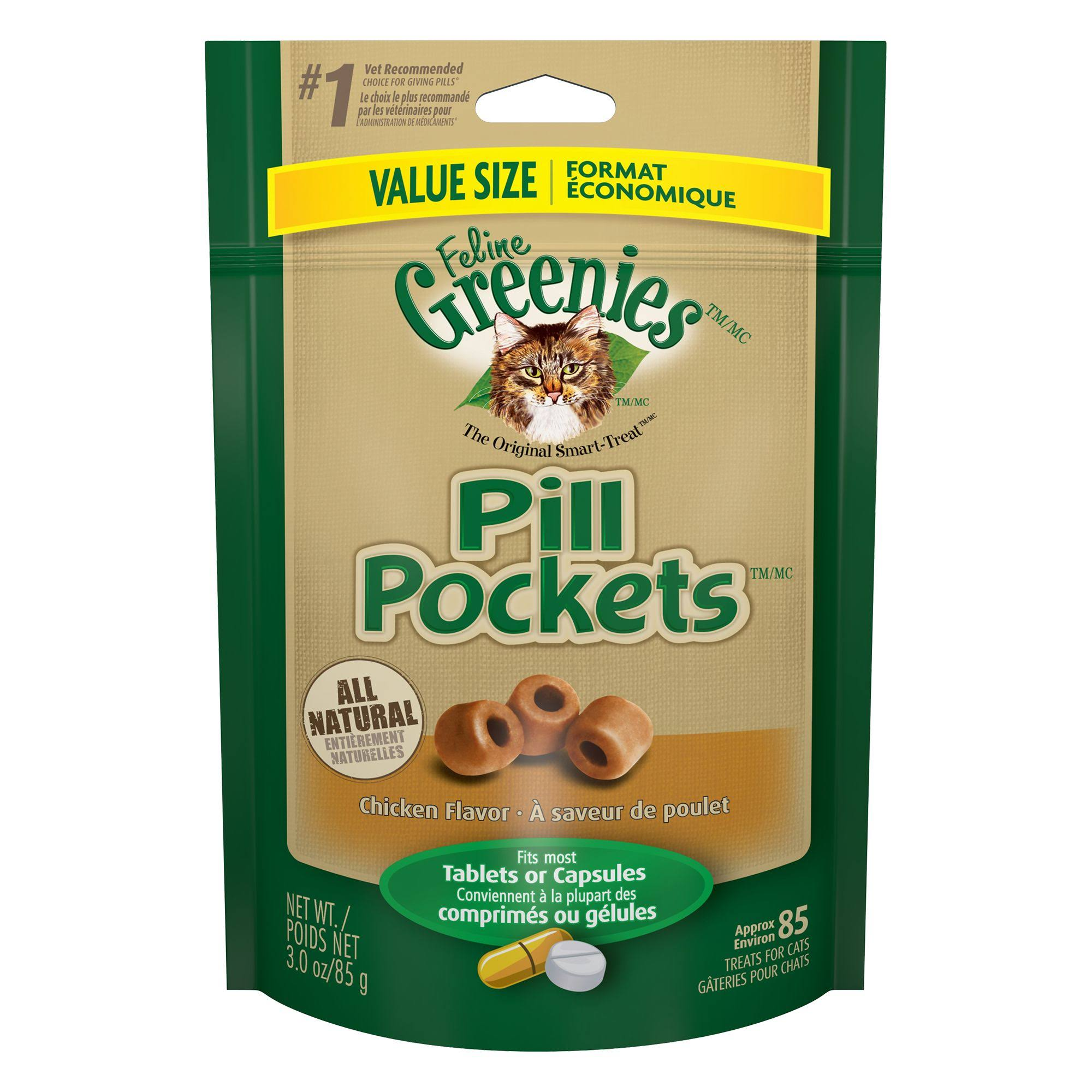 Feline Greenies Pill Pockets Cat Treats - Chicken, 3oz