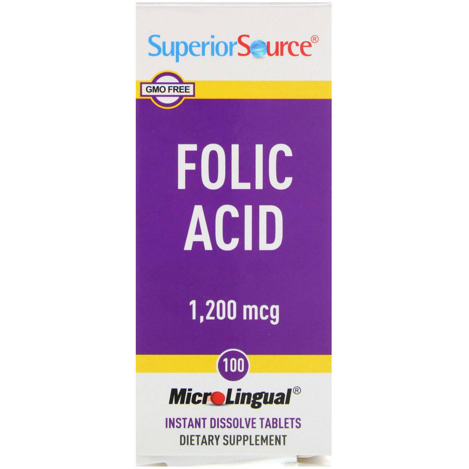 Superior Source Folic Acid Dietary Supplement - 100ct