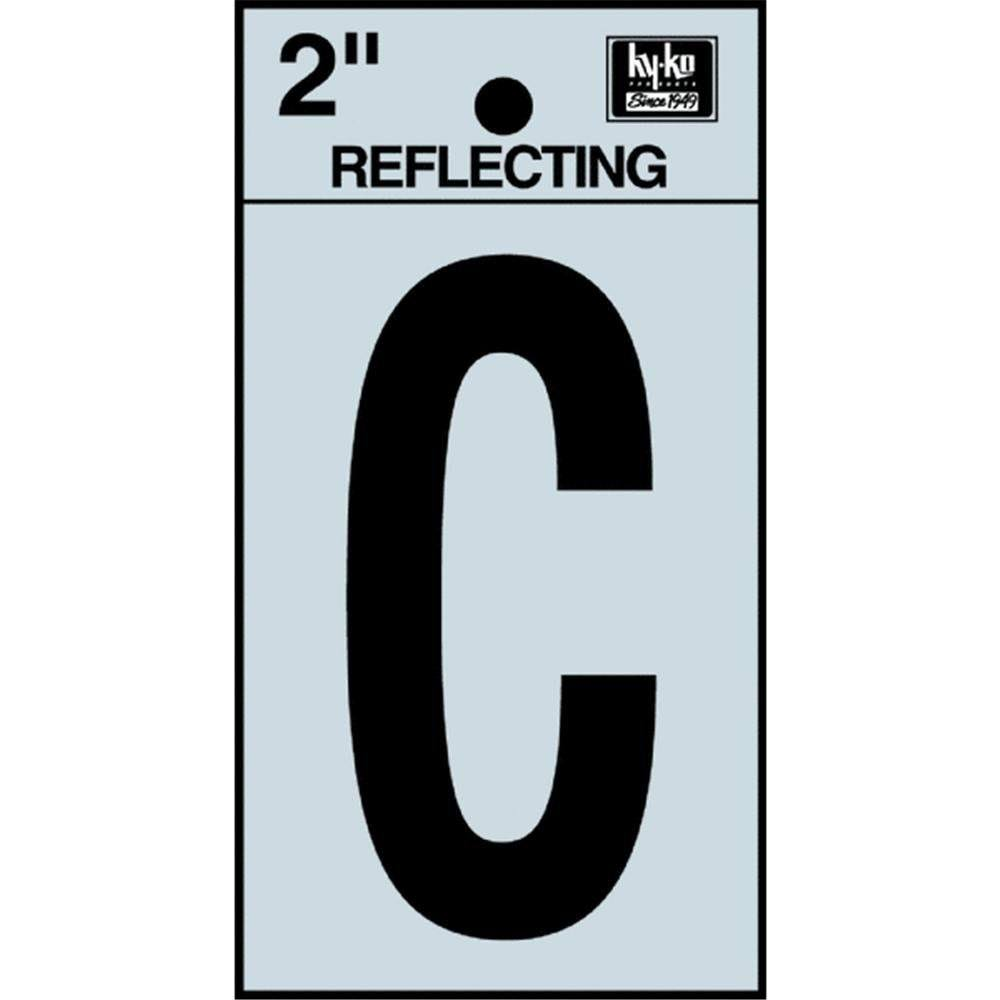 "Hy-ko Products Letter House - Letter C, 2"", Reflective, Black"