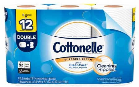 Kleenex Cottonelle Ultra CleanCare Toilet Paper, Strong Bath Tissue, 6 Double Rolls