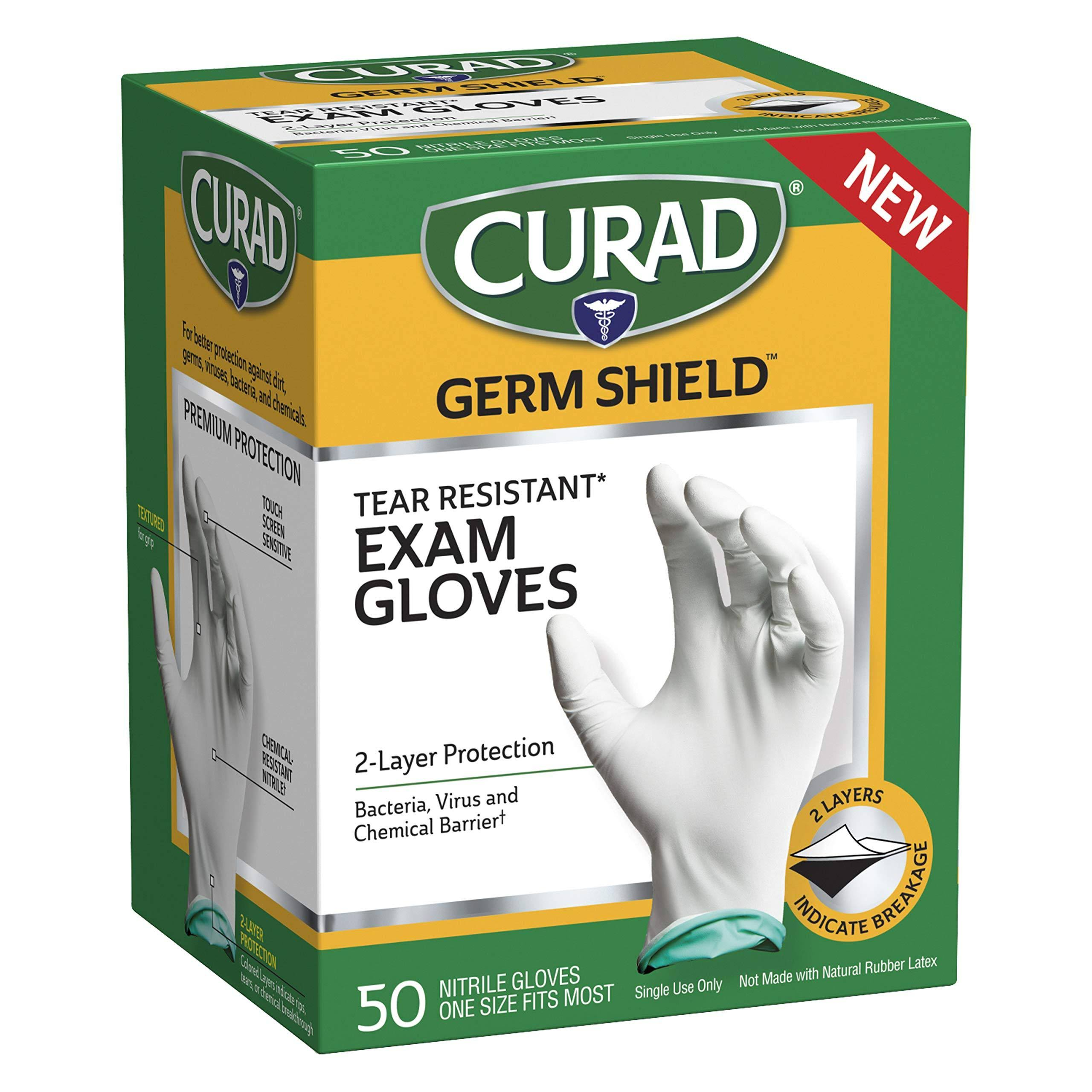 Curad Germ Shield Nitrile Exam Gloves, Disposable Gloves One Size Fits Most