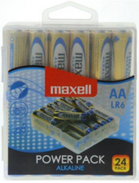 Maxell 1.5V AA Power Pack Alkaline Battery Set - 24 Pack