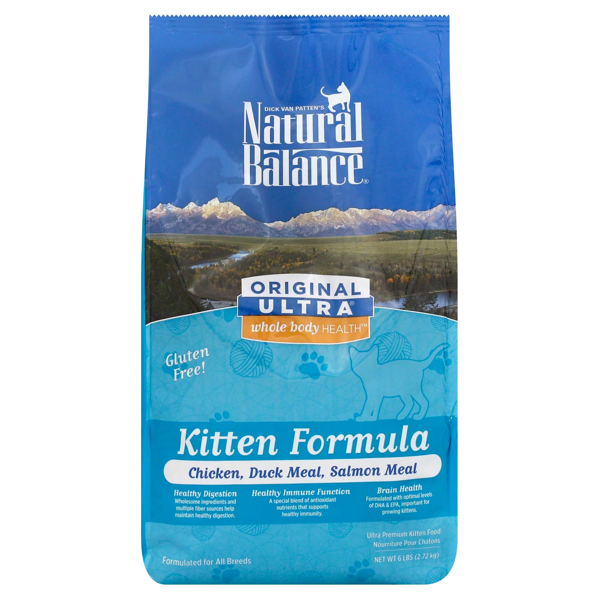 Natural Balance Kitten Formula Original Ultra Whole Body Health Dry Cat Food - Chicken, Duck Meal and Salmon Meal, 6lbs