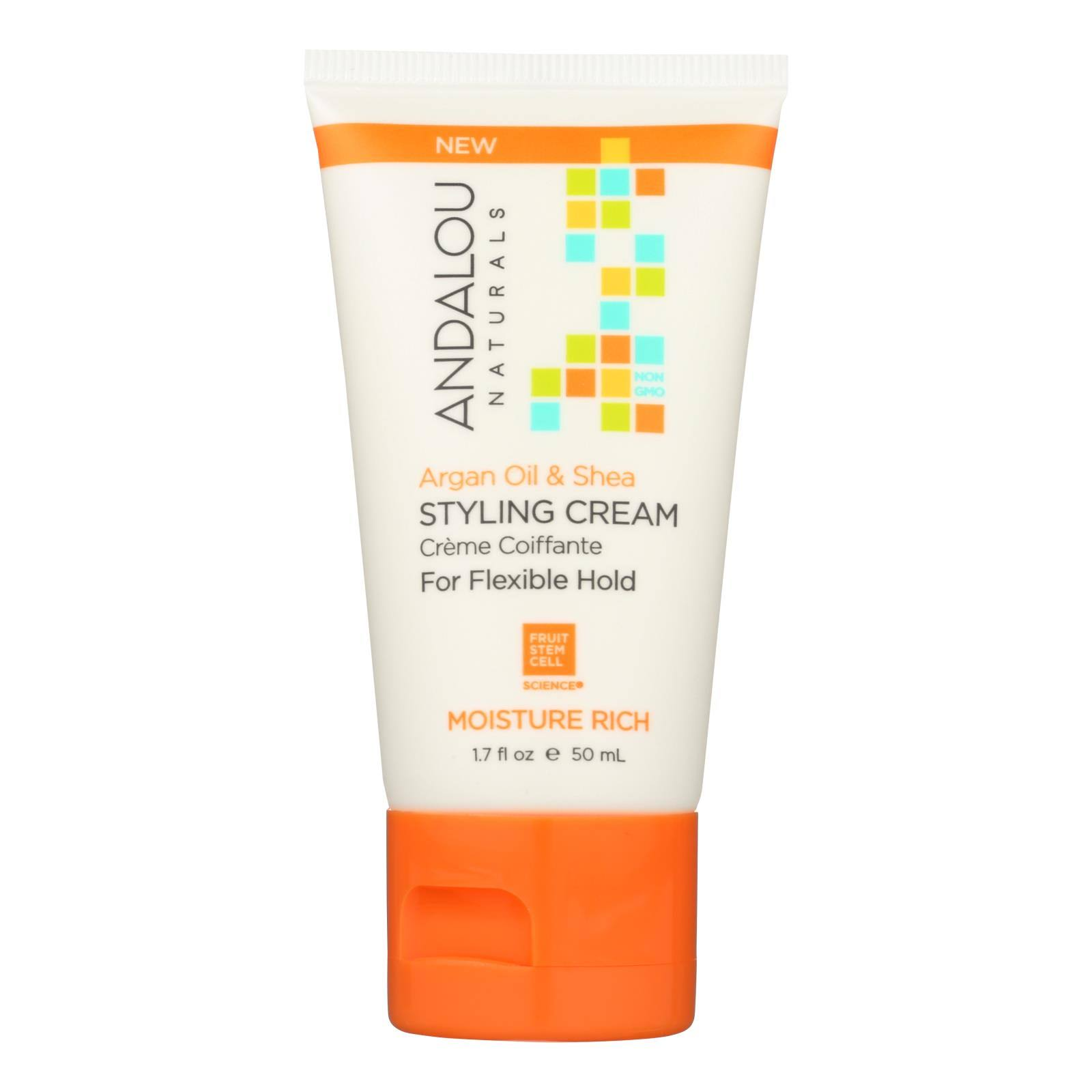 Andalou Naturals Moisture Rich Hair Styling Cream, Argan Oil & Shea - 1.7 fl oz tube