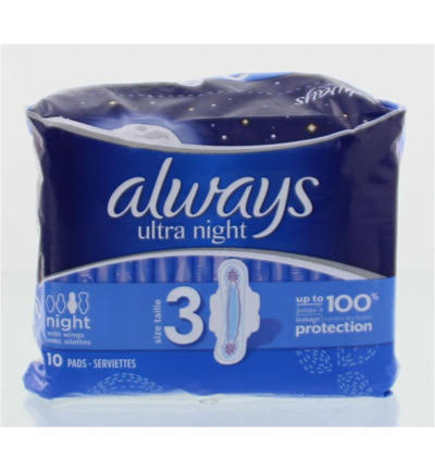 Always Ultra Night Sanitary Napkin - 10 Pack