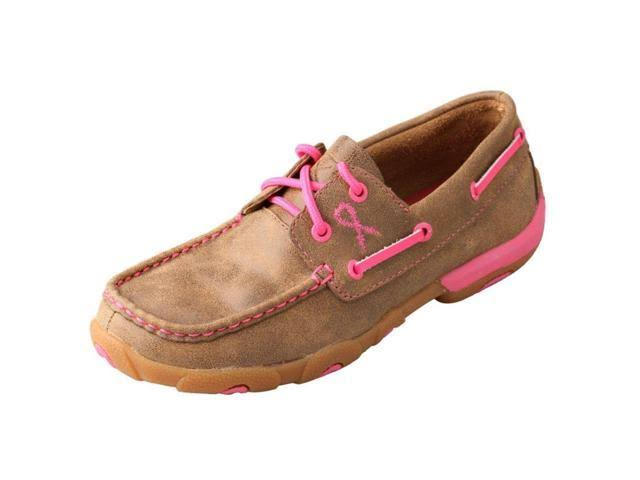 Twisted X Women's Leather Lace Up Rubber Sole Driving Moccasins Flats - Bomber and Pink, 7.5 USW