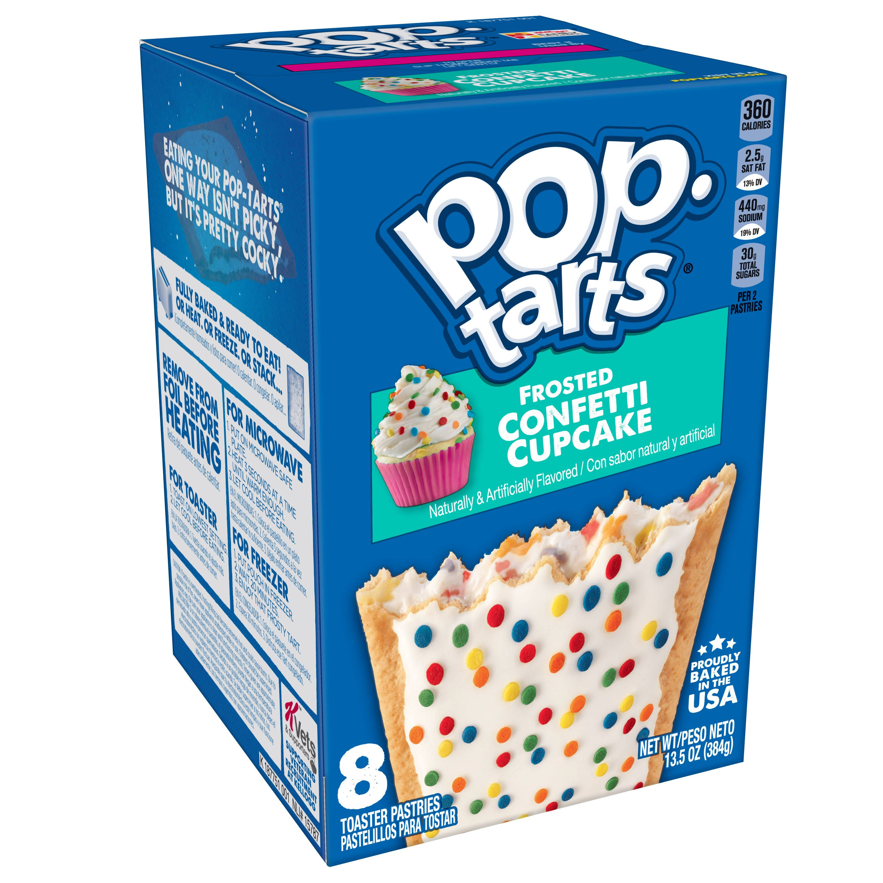 Pop Tarts Toaster Pastries, Confetti Cupcake, Frosted - 8 toaster pastries, 13.5 oz