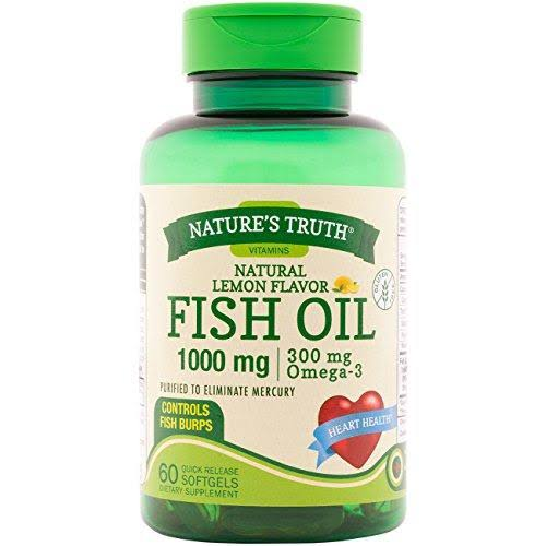 Nature's Truth Fish Oil Supplement - Lemon Flavor, 60 Count