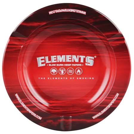 Elements Round Metal Ashtray - Red, 5.5""