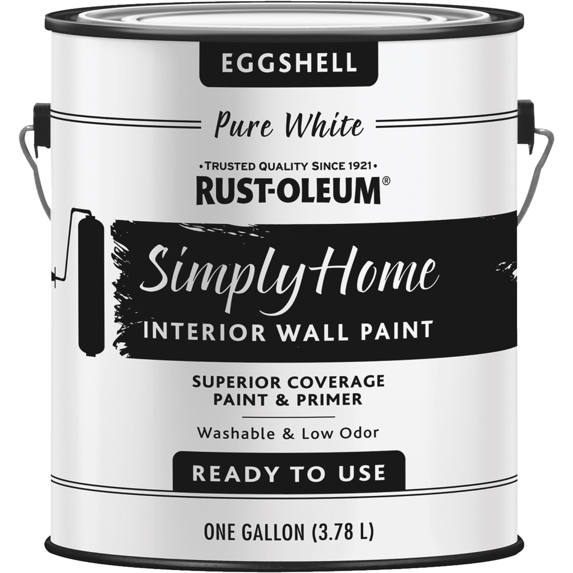 Rust-Oleum Simply Home Eggshell Interior Wall Paint - Pure White, 1gal
