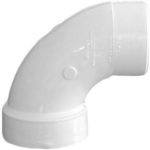 Genova Products PVC Schedule 40 DWV 90 Degree Sanitary Elbows - White, 2""