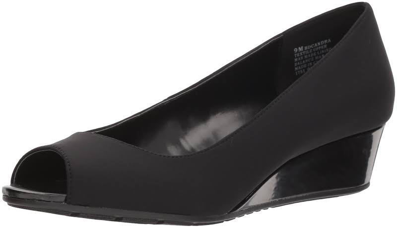 Women's Bandolino Candra Peep Toe Wedge, Adult, Size: 7 M, Black Lycra