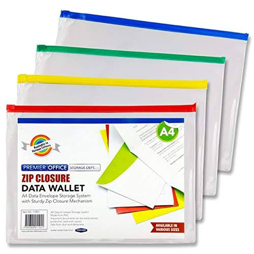 Document Wallet A4 Zip Clear Plastic