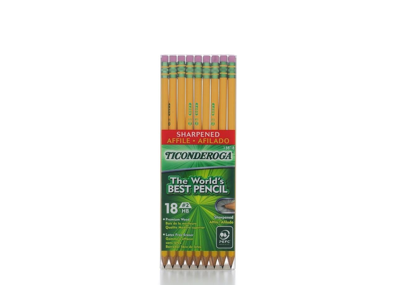 Dixon Ticonderoga Sharpened Pencil - Number 2, HB, x18