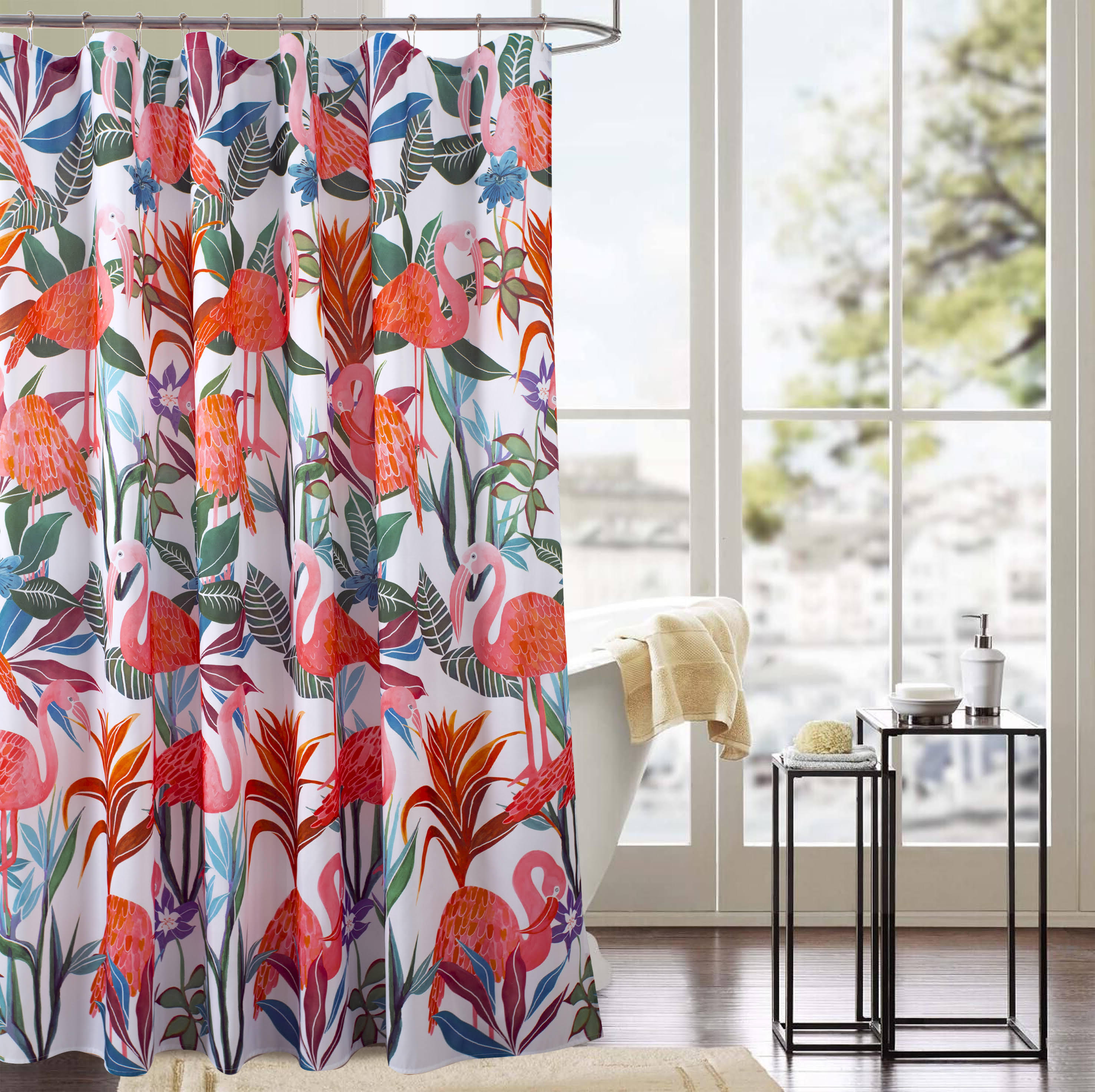 RT Designers Collection Classic Flamingo 70 x 72 in. Printed Shower Curtain, Flamingo