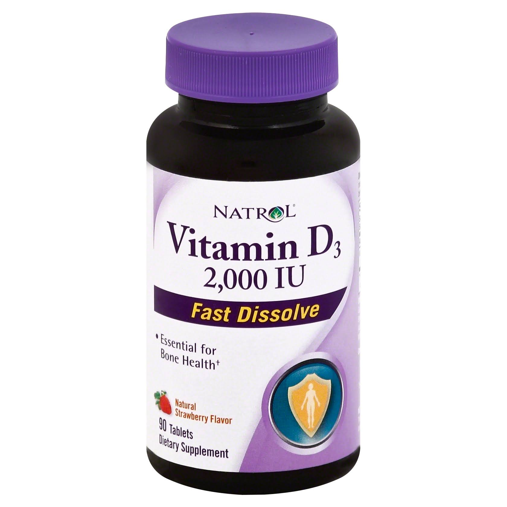 Natrol Vitamin D3 - 2000 IU, Strawberry, 90 ct