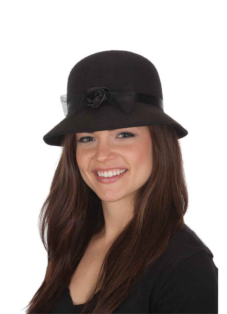 Jacobson Hat Company Women's Felt Cloche Hat - Black