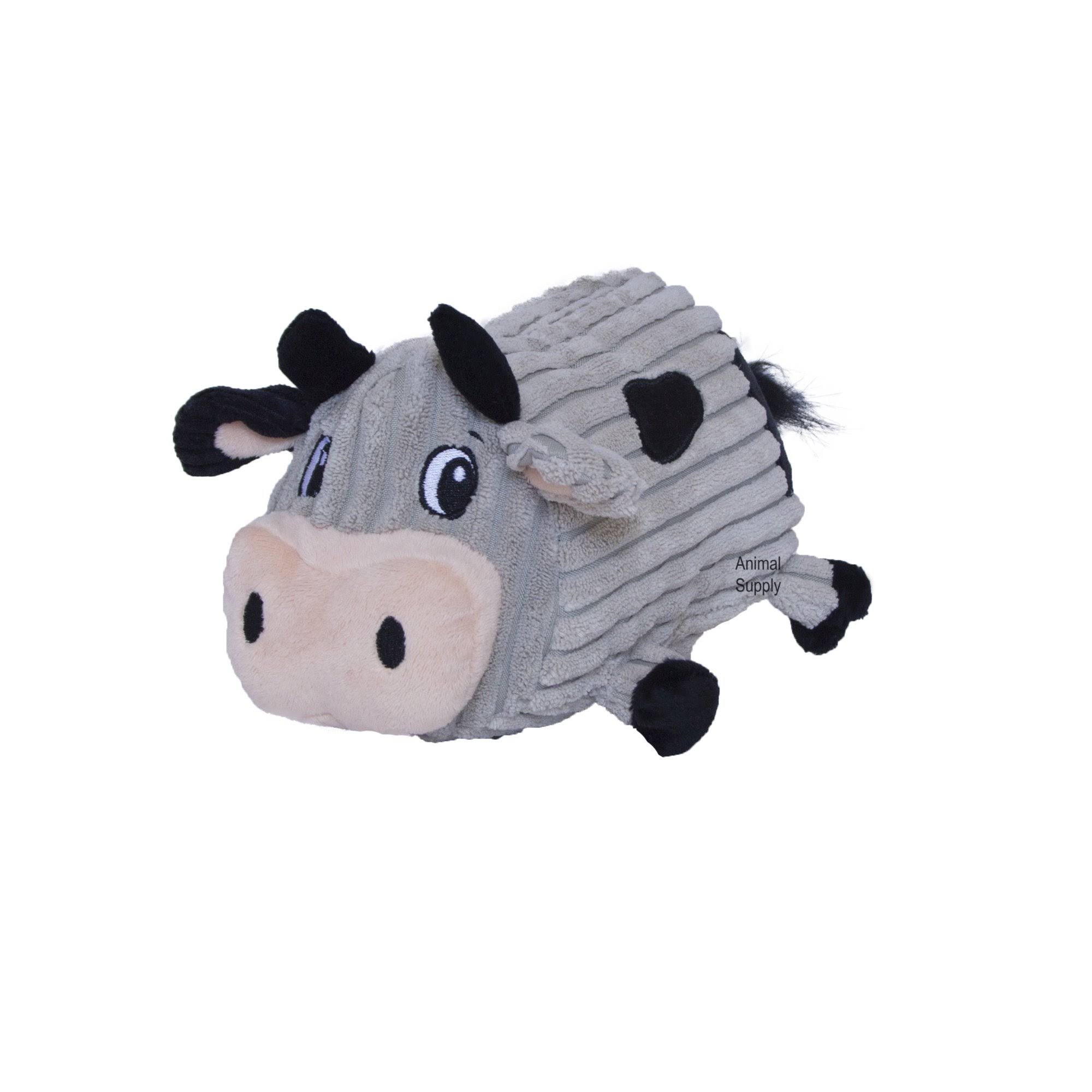 Outward Hound Fattiez Round Squeaky Plush Dog Toy - Cow, Medium